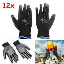 Nylon PU Safety Anti-stat Work Gloves Builders Grip Palm Coating Glove 12 pairs