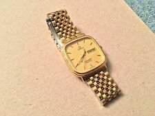 OMEGA SEAMASTER QUARTZ WATCH RETRO CLASSIC GOLD CHAIN LINK