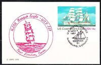 United States 1981 post card cancel in New London to Nordposta Tall ships