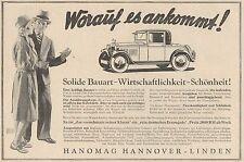 Y4359 Automobile HANOMAG - Pubblicità d'epoca - 1929 Old advertising