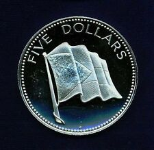 BAHAMAS  1975  5 DOLLARS  SILVER PROOF COIN, A GEM! SUPERB AND CHOICE PROOF!