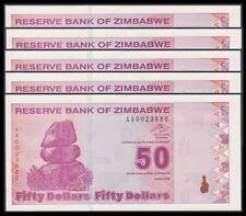 TWN - ZIMBABWE 96 - 50 D. 2009 UNC Prefix AA Dealers x 5