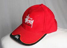 Stussy Sport Vintage Cap Red Black Sun Hat Unisex Adult S-M VGC!