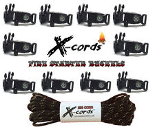 Side Release whistle Buckle Flint Fire Starter-Compass  Paracord Bracelet X10