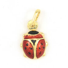 10k Yellow Gold Enamelled Ladybug Pendant(new, 0.9g, Length:14.11mm)3582
