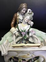 Kister Scheibe-Alsbach Figurine Man Woman Playing Harpsichord Pianoforte Antique