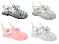 GIRLS DIAMANTE FLAT SUMMER HOLIDAY BEACH JELLY SANDALS SHOES UK SIZE 11-3