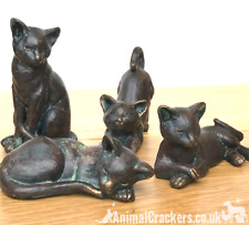 More details for set of 4 cute old brass effect cat ornaments decoration cat or garden lover gift