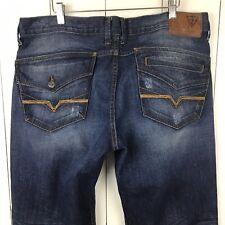 Guess Jeans Men's 38 x 34 Rebel Straight Leg Medium Wash Flap Pocket