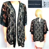 NEW DOROTHY PERKINS WOMEN`S CARDIGAN COVER SIZE 12/14 BLACK LACE OPEN FRONT #46