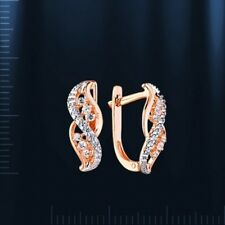Russian solid rose gold 585 /14ct CZs earrings NWT. Very Beautiful