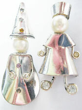 2 VINTAGE STERLING SILVER FAUX-PEARL HEADS PEOPLE MAN WOMAN PINS WIZARD +RUSSIAN