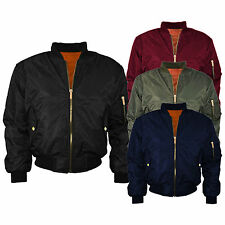 New Womens Ladies MA1 Bomber  Padded Jacket Vintage Zip Up Biker XS - Plus Size