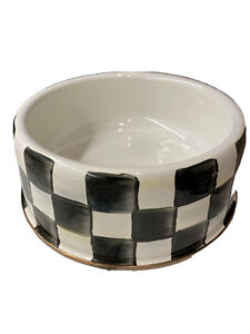 Mackenzie Childs Dog Bowl - Courtly Check/Black and White - Large - New