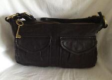 FOSSIL Black Leather MODERN CARGO Shoulder Bag Purse-NICE