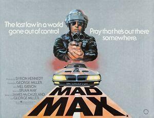 "MAD MAX  1979 rare repro uK quad poster 30x40"" Free P&P Mel Gibson"