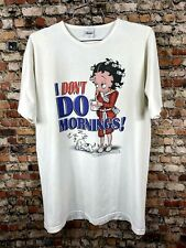 Vintage 90s Y2K Betty Boop I Dont Do Mornings Sleep T Shirt XL Large Pudgy Dog @