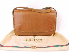 AUTH GUCCI VINTAGE GENUINE BROWN LIZARD SKIN SHOULDER BAG PURSE MADE IN ITALY