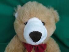 BIG SOFT CARAMEL BROWN WHITE TEDDY BEAR RED BOW COMMONWEALTH FLOPPY PLUSH TEDDY