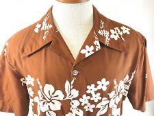 0f8c9e683 Ui Maikai Vtg 50s 60s Hawaiian Shirt Men XL Brown Aloha White Flowers  Cotton EUC