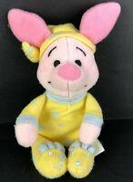 "VTG Disney Baby Piglet In Pajamas Plush Rattle Stuffed Animal Toy 6"" PJs Sleeper"