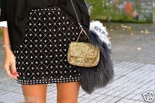 ZARA Femme Velours Noir Brodé Perlé Mini Jupe Taille XS, neuf avec étiquettes