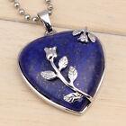 Charm Silver Plated Natural Amethyst Gemstone Heart Shape Stone Pendants Jewelry