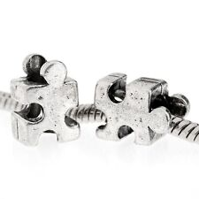 Autism Puzzle Piece Beads Awareness European Big Hole Antiqued Silver Lot of 6