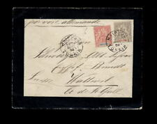 INDOCHINA 1904 VF MOURNING COVER to Swiss via Singapore