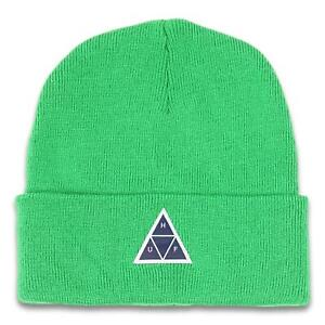 HUF Mens Peak Logo Beanie Dried Herb One Size New