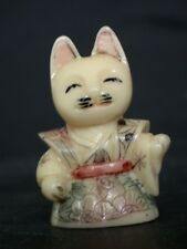 Japanese ivory colored bone  netsuke -Miniature girl CAT wears kimono