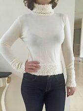 Cristian Dior Cream White Wool Turtleneck Sweater Size USA 6, F 38, GB 10, D 36