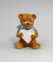 9942594 Porcelain Figurine Teddy Bear with Heart Blue Wagner & Apel H11cm