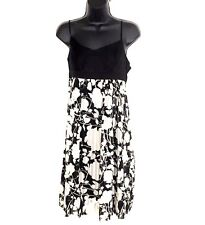 BCBG Max Azria slip dress 10 silk floral black white baby doll spaghetti NEW M