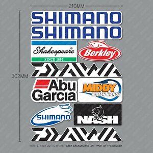 Fishing Box Sticker Sheet - Abu Shimano Nash Tackle Box Decals - SKU6238