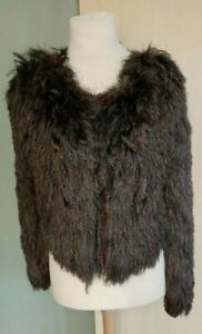 Topshop Shaggy Feather Jacket Cardigan Mink Size 14 Ladies Womens Gorgeous
