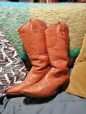 Womens vintage Veletto Cowboy boots Tan, stitching Leather-Lined pointed, size 5