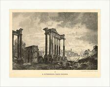 H. Effenberger. Forum Romanum Rom Säulen Ruine Landschaft Stein Holzstich A 1068