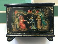 """Russian Vintage Palekh Lacquer Box Artist Signed """"Lapin"""" 1988"""