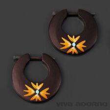 legno Orecchini ad anello dipinto a mano fiori bottone accessori NATURALI CE223