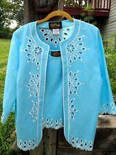 Bob Mackie  Womens Medium Turquois White Embroidery Cami Top & Jacket Set EUc