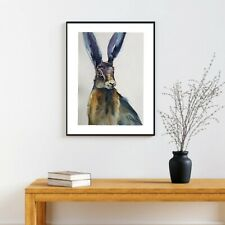A3 original  watercolour animal painting , Hare
