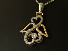 DIAMOND PENDANT AND CHAIN 10K GOLD 925 SILVER.