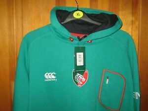 Leicester Tigers Men's Rugby Hoody Warm Winter Jumper Lined With Fleece Size 2XL