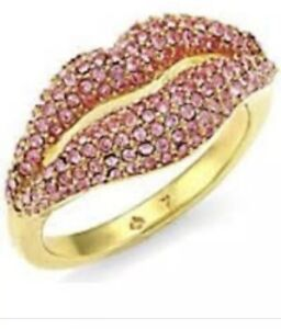 Kate Spade New York Lips Pave Statement Ring Sizes 6, 7, 8 w/ KS Dust Bag New