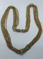 """Vintage signed MONET Multi Strand Gold Tone Statement Chain Necklace 26"""""""