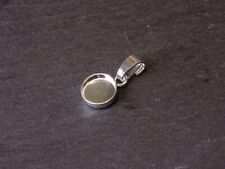 Solid 925 Sterling Silver Round 8mm Bezel Mount Pendant With Bail DIY Cabochon
