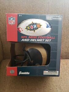 1998 Superbowl LA Rams Franklin Helmet And Mini Football set