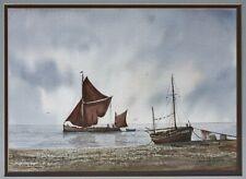 Alan Whitehead (b.1952) firmada pintura acuarela de Vela barcazas, enmarcado #4