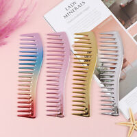 Electroplating Hairdresing Haircut Comb Scalp Massage Hair Brush Wide Tooth  md